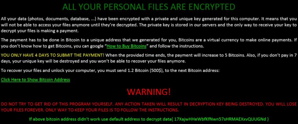 Ransomware Erpresser-Meldung
